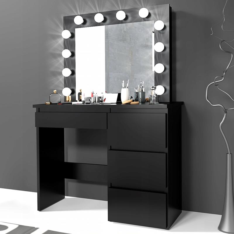 Fekete fésülködő asztal fényekkel és fiókokkal