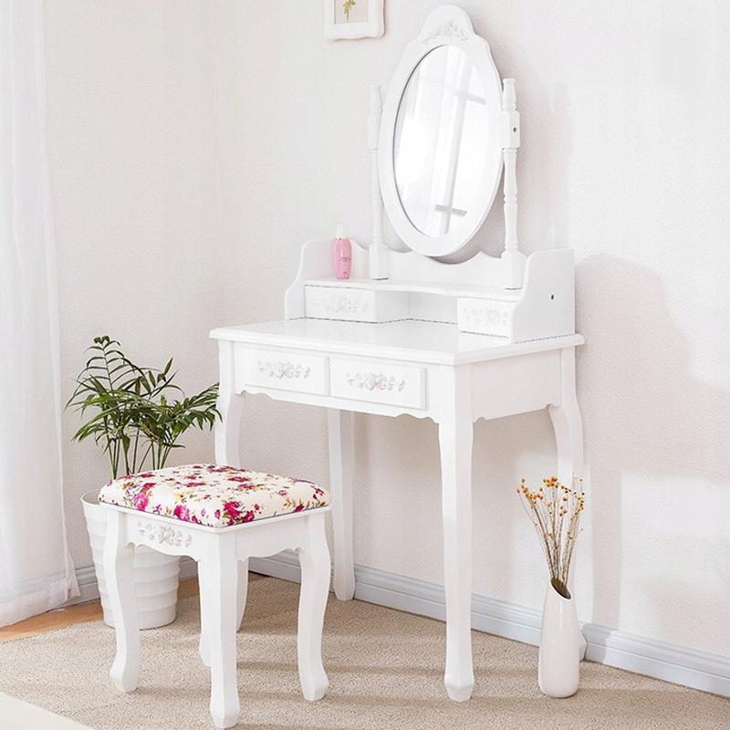 Masă de toaletă de calitate cu oglindă rotativă și scaun